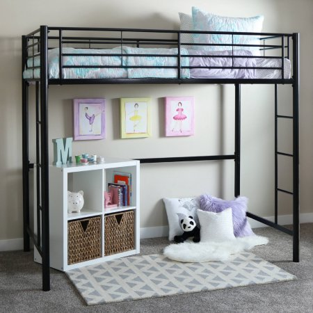 WALKER EDISON Sunset Twin Loft Bed in Black by