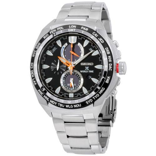 UnAssigned New Seiko SSC487 World Time Solar Chronograph Prospex Stainless Steel Mens Watch