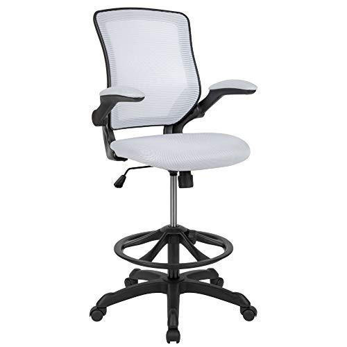 Flash Furniture Mid-Back White Mesh Ergonomic Drafting ...