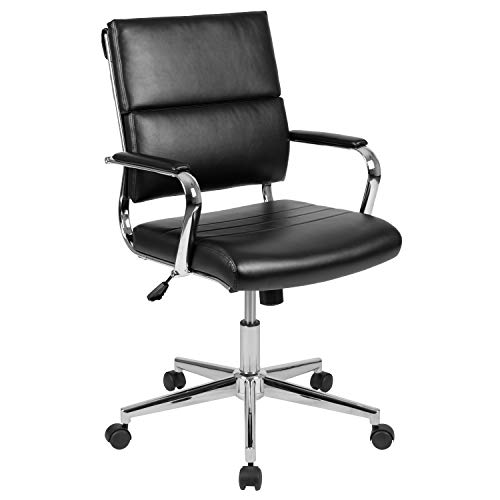 Flash Furniture Mid-Back Black LeatherSoft Contemporary...