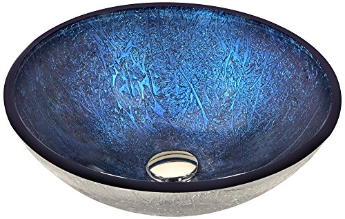 ANZZI Tempered Glass Vessel Sink - Blue - Arc Series LS-AZ215 -