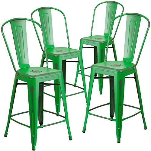 Flash Furniture 4 Pk. 24'' High Distressed Green Metal ...