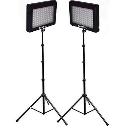 Bescor LED-95DK2 LED Video Light Kit with Two LED Light Panels, Two Pieces Floor Stands and Two AC...