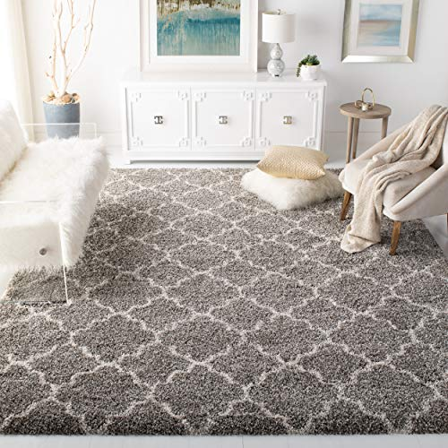 Safavieh Hudson Shag Collection SGH282B Grey and Ivory ...