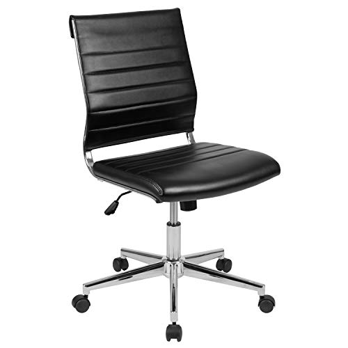 Flash Furniture Mid-Back Armless Black LeatherSoft Cont...